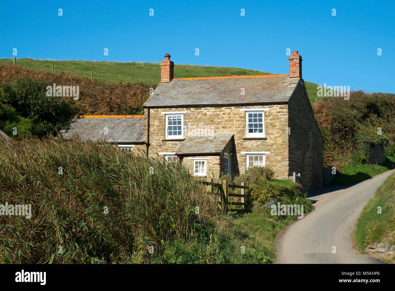 granite stone cottage at hemmick in cornwall, england, uk. - Stock Image