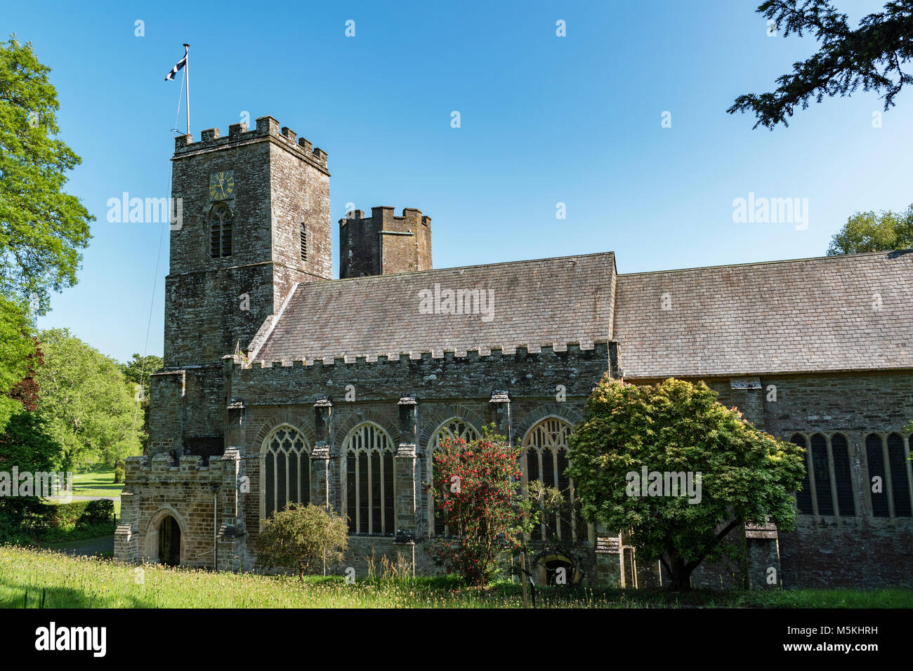 st.germans priory a large norman church in the village of st.germans, south east cornwall, england, britain, uk. - Stock Image