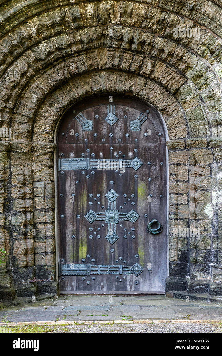 12th century norman architecture door doorway at st.germans priory, cornwall, england, britain, uk. - Stock Image