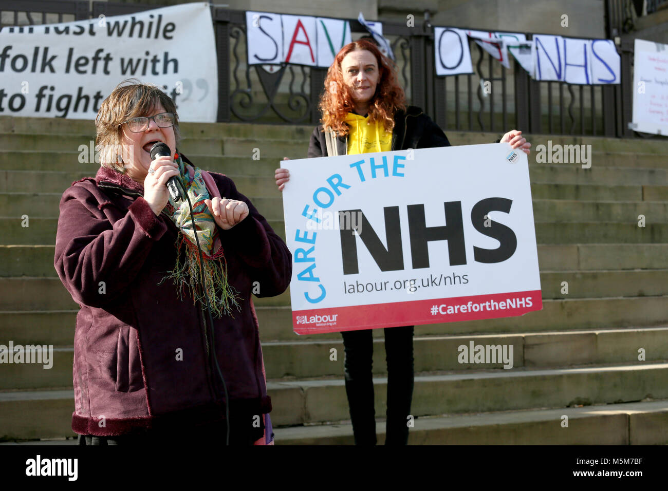 Karen Reisman speaking at a rally to defend the NHS in Bolton, 24th February, 2018 (C)Barbara Cook/Alamy Live News - Stock Image