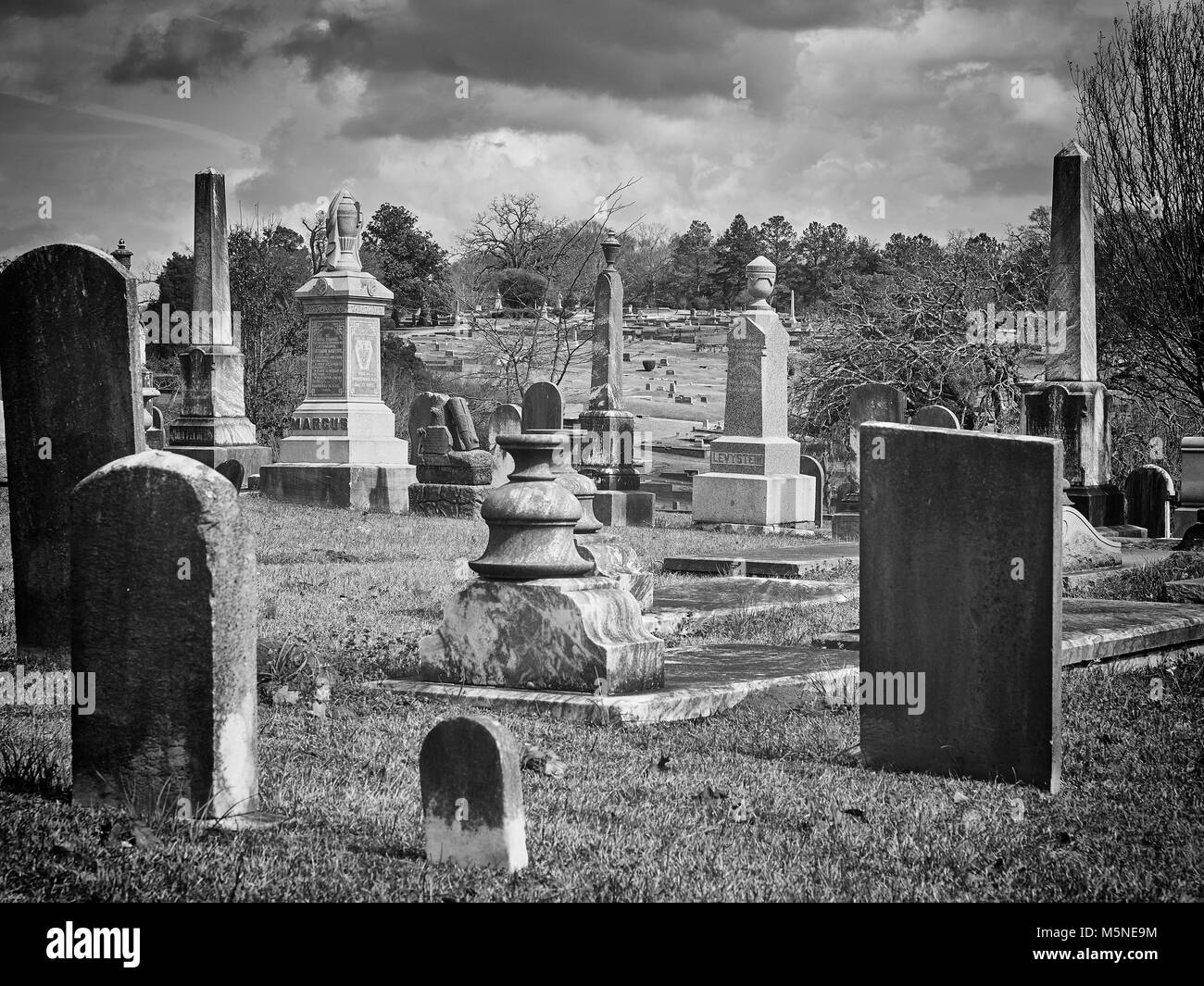 Old Oakwood Cemetery with headstones, gravestones and monuments established in the early 1800's for all faiths - Stock Image