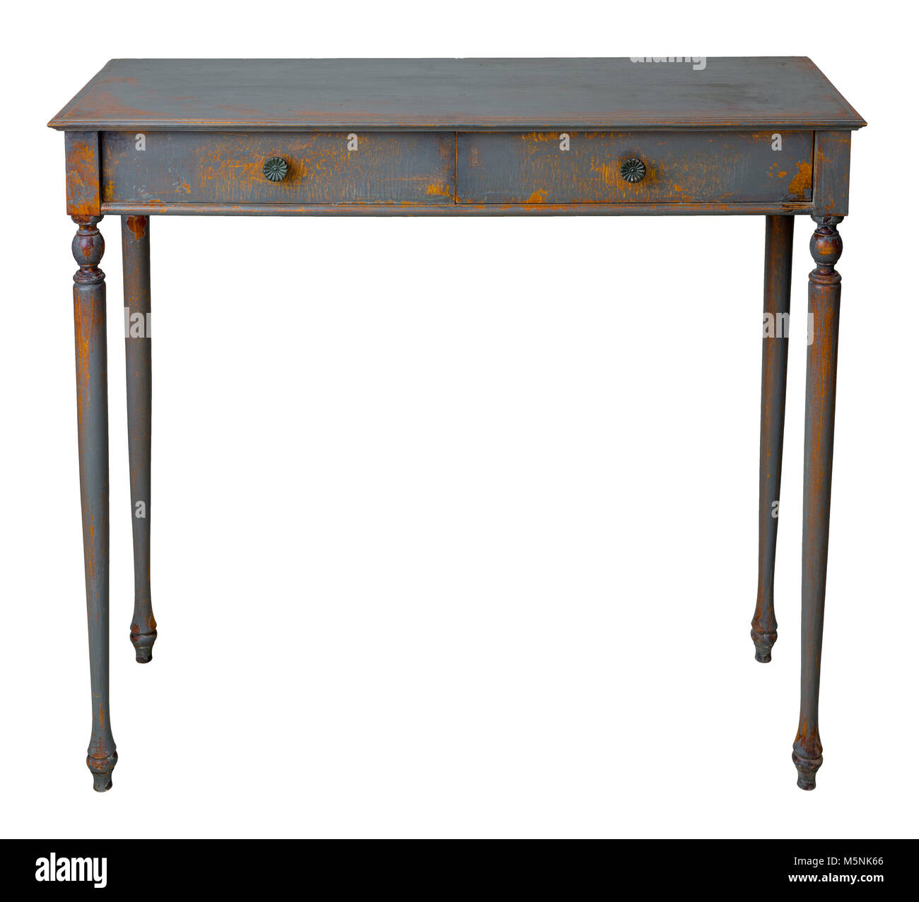 Vintage Furniture - Retro wooden vintage table with two drawers painted in grey and orange, isolated on white background - Stock Image