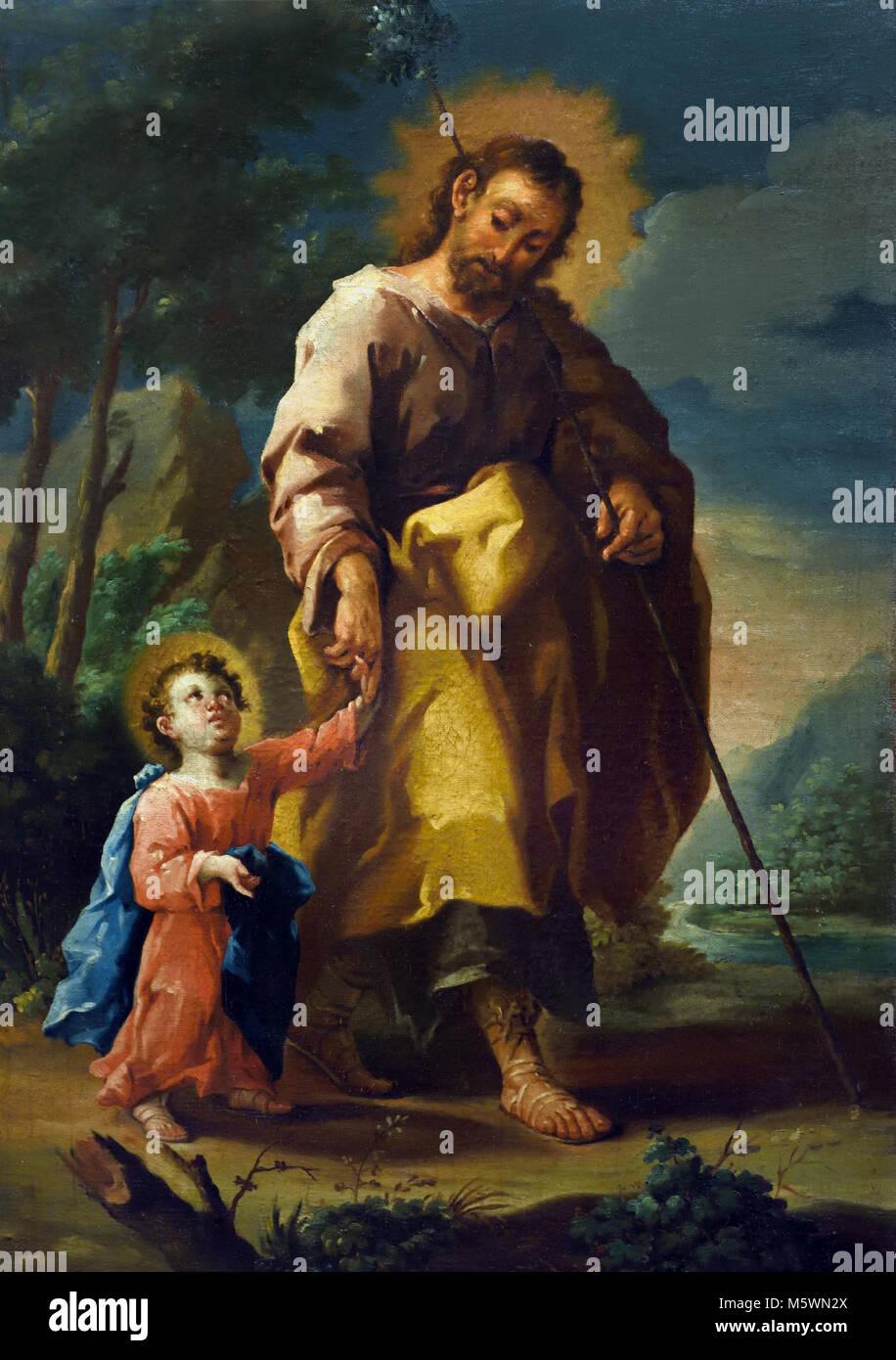 San Jose el niño - Saint Joseph And the child 1750 Jose Luzan Martinez 18th, century, Spain, Spanish, - Stock Image