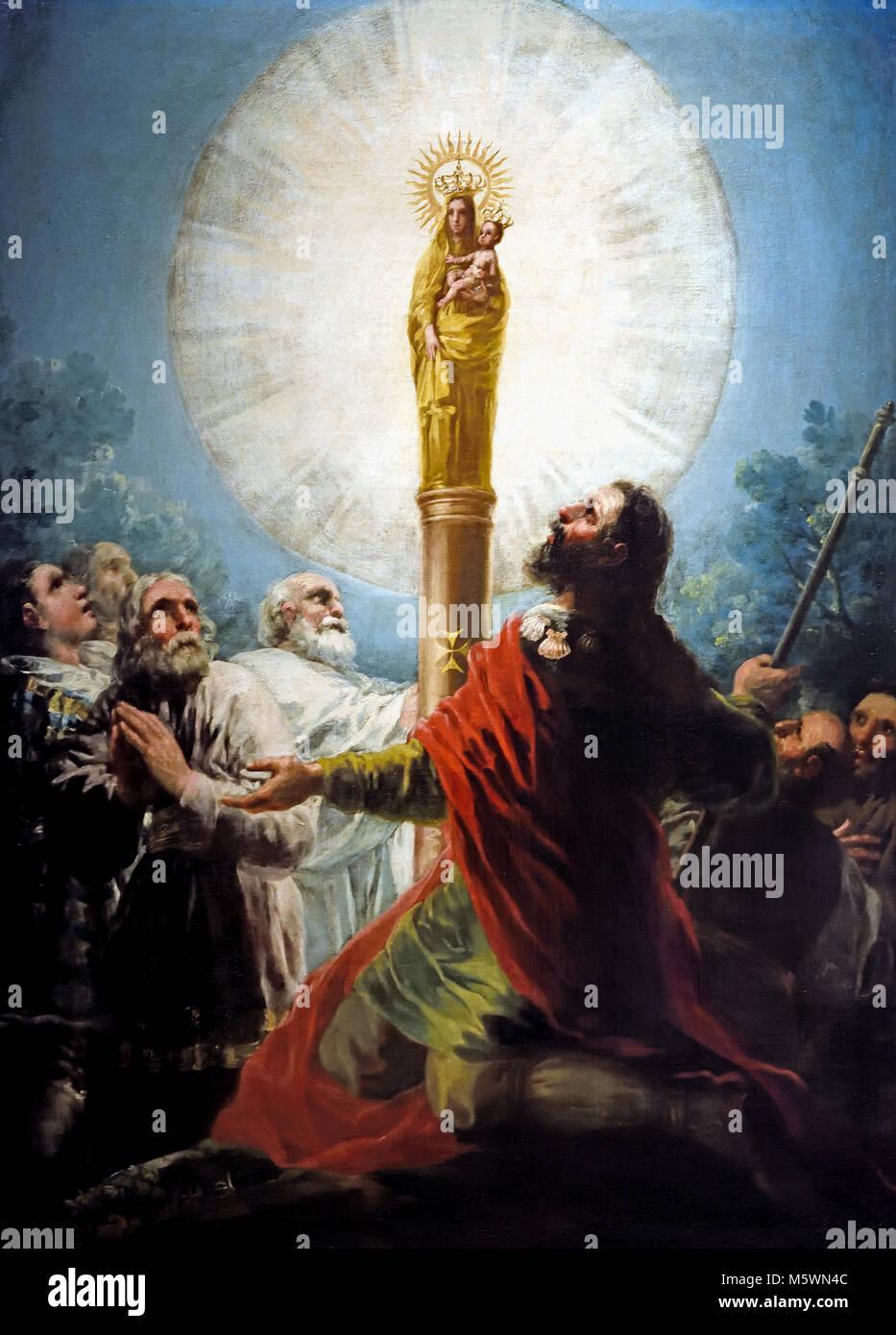 El Apóstol Santiago y sus discípulos adorando a la Virgen del Pilar - The Apostle James and his disciples - Stock Image