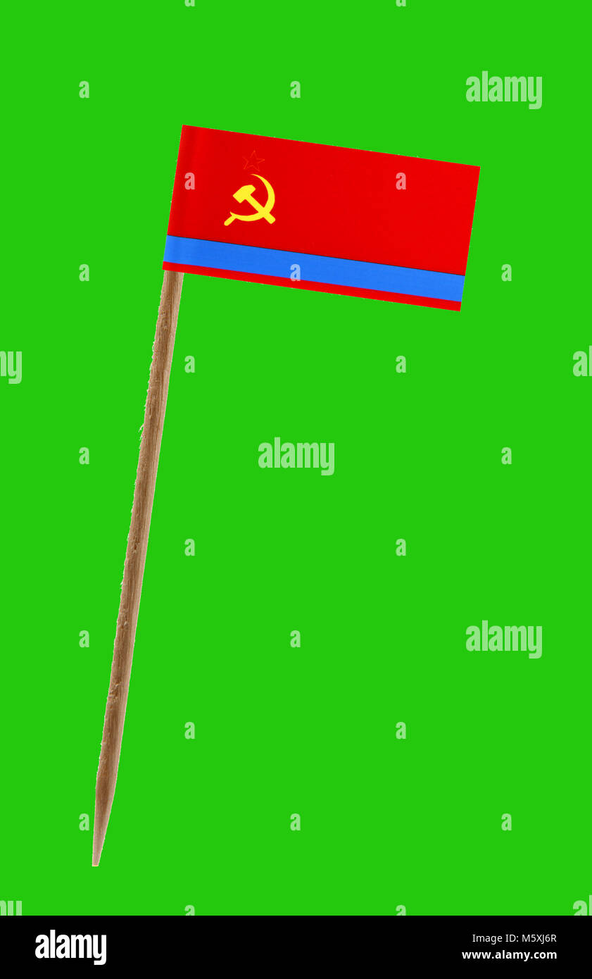 Tooth pick wit a small paper flag of Kazakstan on a green screen for chromakey - Stock Image