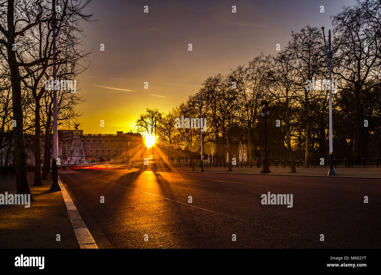 Buckingham Palace at Sunset from The Mall, London, UK - Stock Image