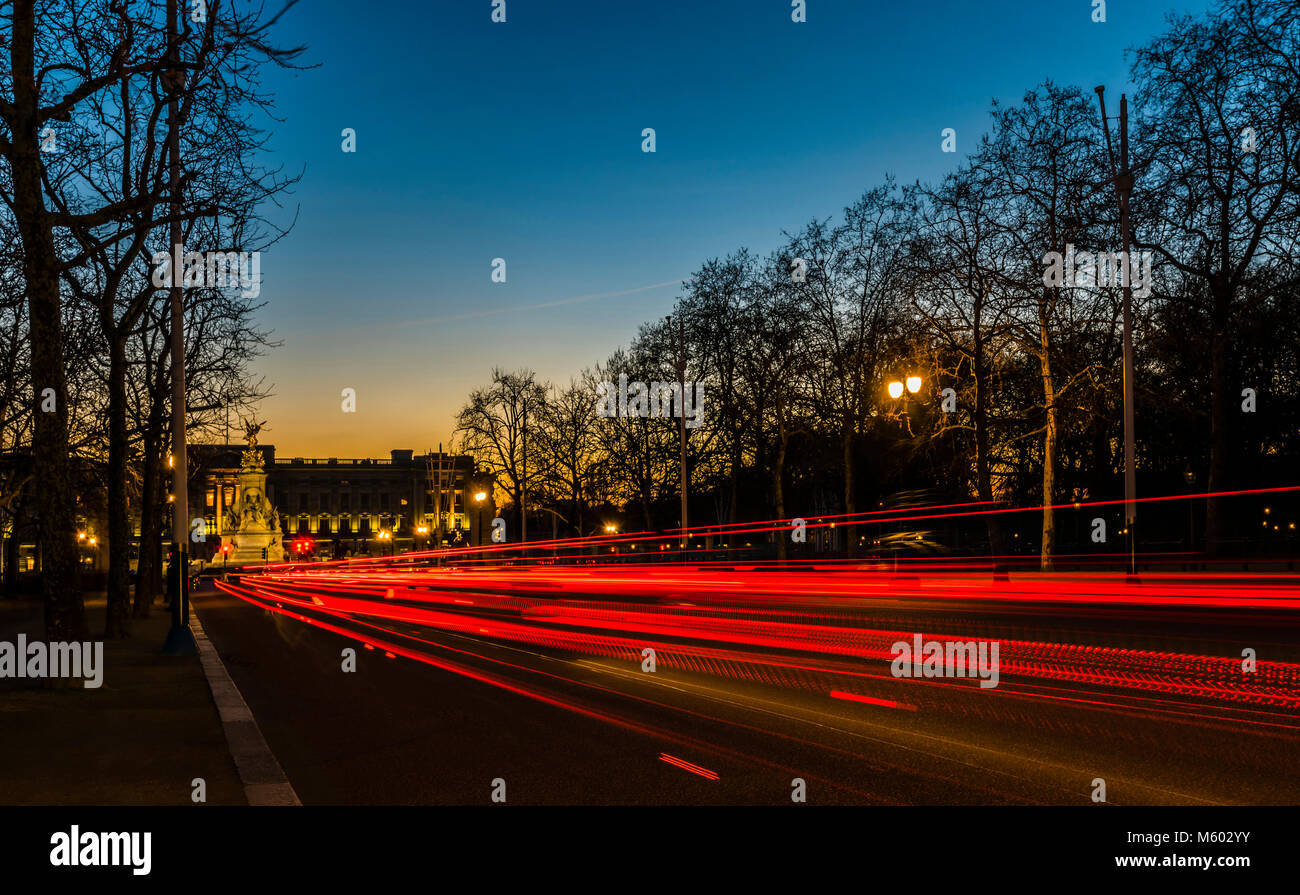 Buckingham Palace after Sunset, from The Mall, London, UK - Stock Image