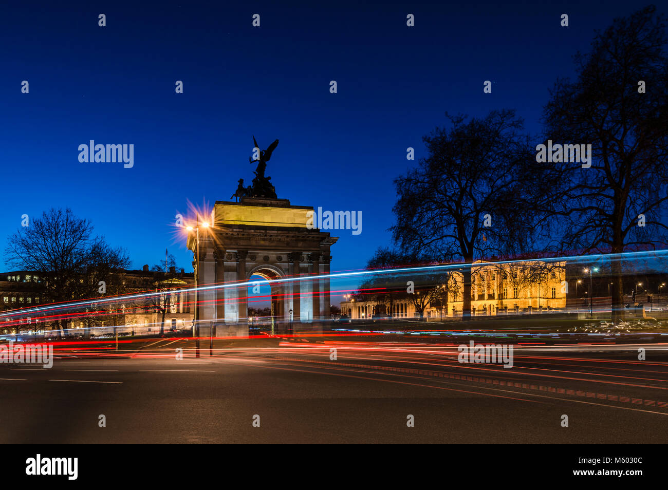 The Wellington Arch at Night, Hyde Park Corner, London, UK - Stock Image