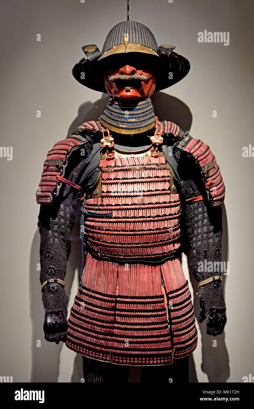 Armor Armadura ( yori ) and Helmet  ( kabuto) 19th,century,Japan Japanese, ( The ō-yoroi  is a prominent example - Stock Image