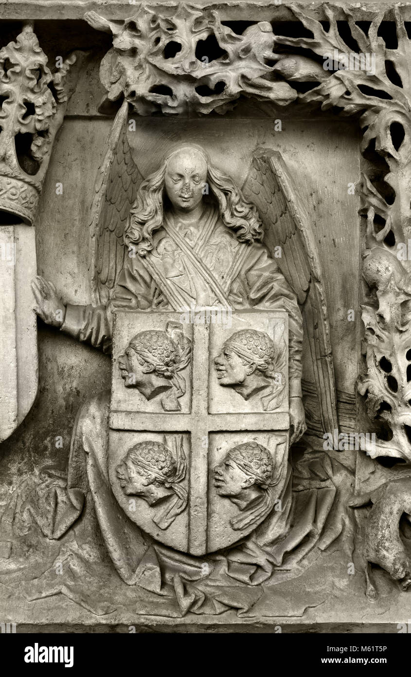 Escudo de la diputacion del Reino de Aragon - Coat of arms of the deputation of the Kingdom of Aragon 1445-1465 - Stock Image