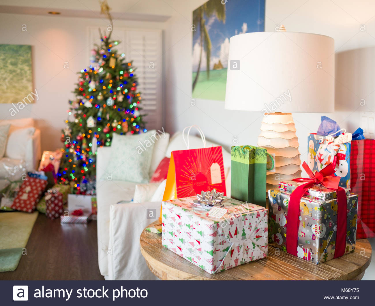 Wrapped and decorated presents on Christmas morning, USA Stock Photo