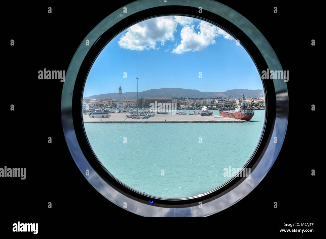 Zante Twon Zakynthos as see from the window of a Ferryboat - Stock Image