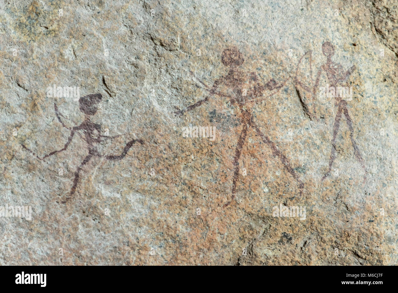 Gobabis Rock Art by the San Bushmen, Ghoha Hills or Bushman Hill, about 5,000 years old, Savuti, Chobe National - Stock Image