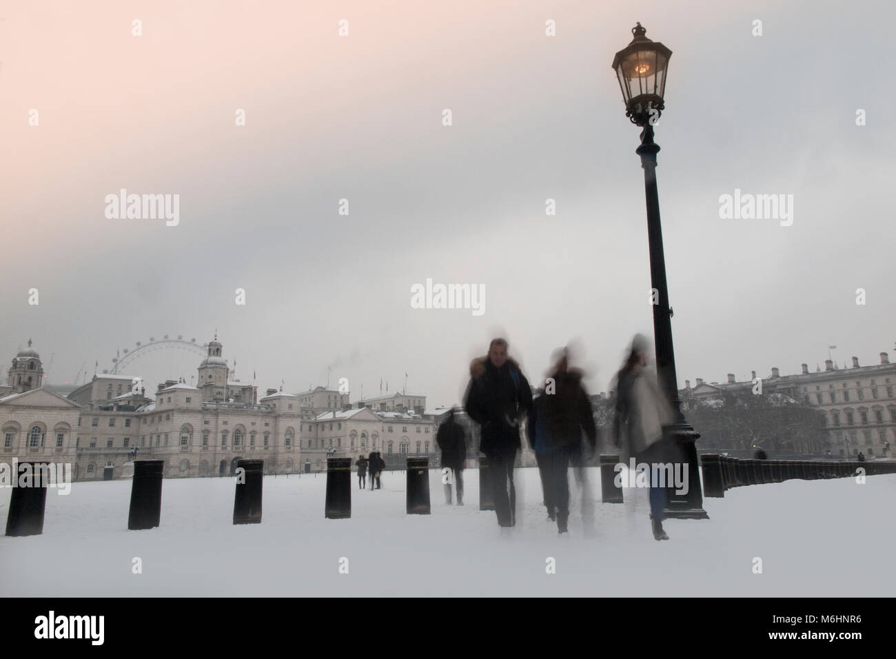 Winter snowscape at Horseguard's Parade in London - Stock Image