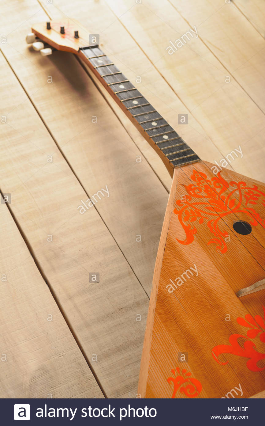 Photo of the Balalaika of the Russian musical three stringed instrument - Stock Image