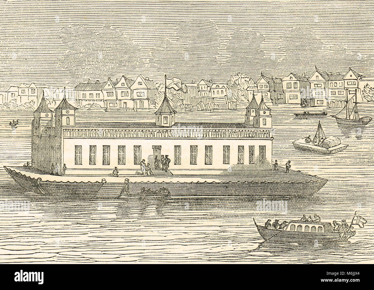 The Folly, on the River Thames, 17th Century, floating House of Entertainment, in the reign of Charles II - Stock Image