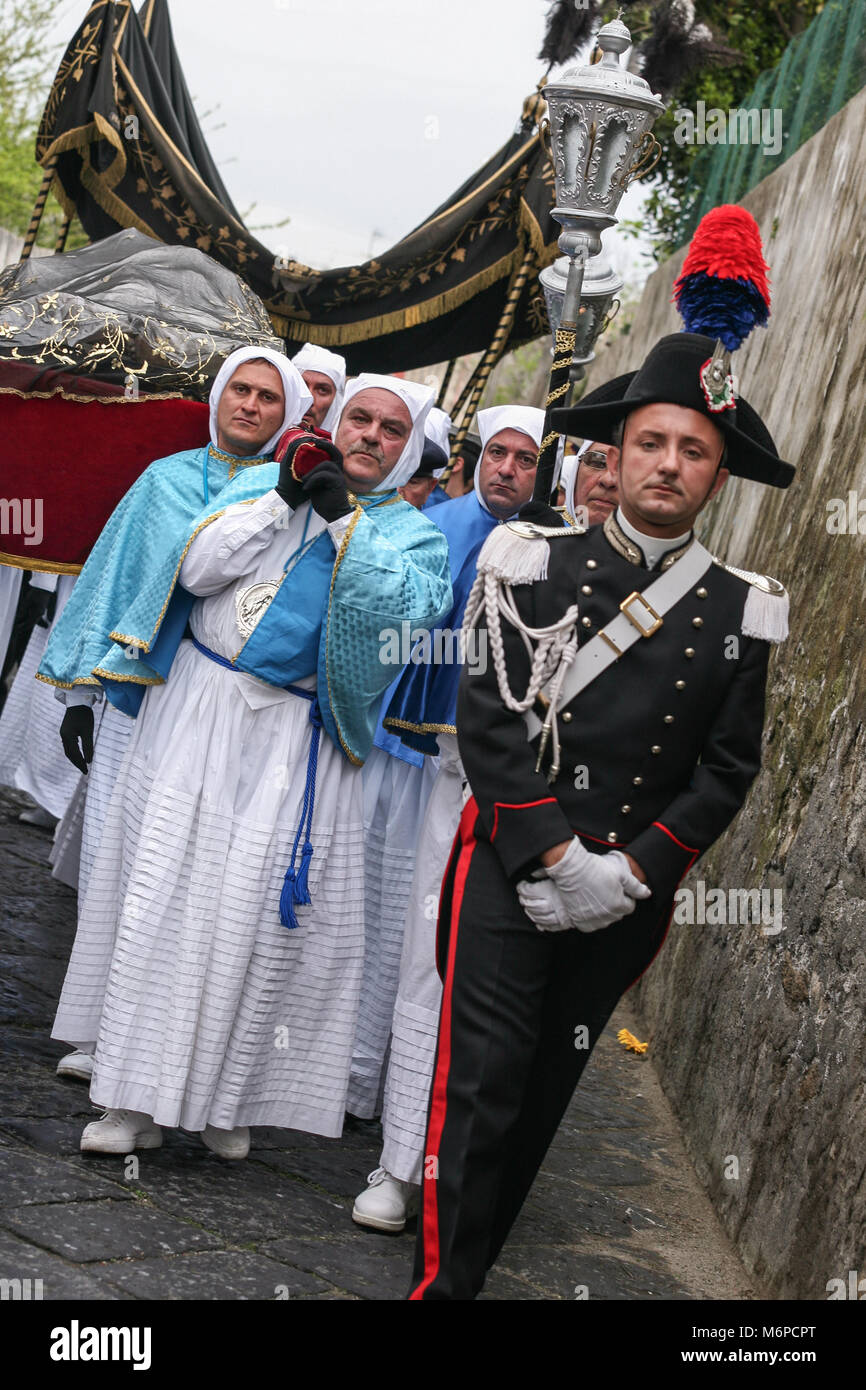 PROCIDA, ITALY - APRIL 11, 2009 - Procida's Good Friday procession is the most famous Easter's celebration - Stock Image