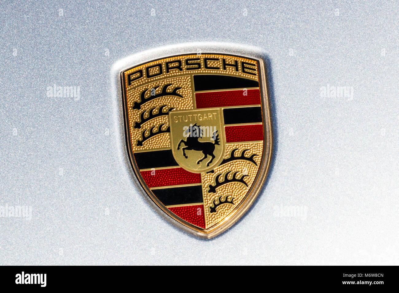 porsche logo stock photos porsche logo stock images alamy. Black Bedroom Furniture Sets. Home Design Ideas