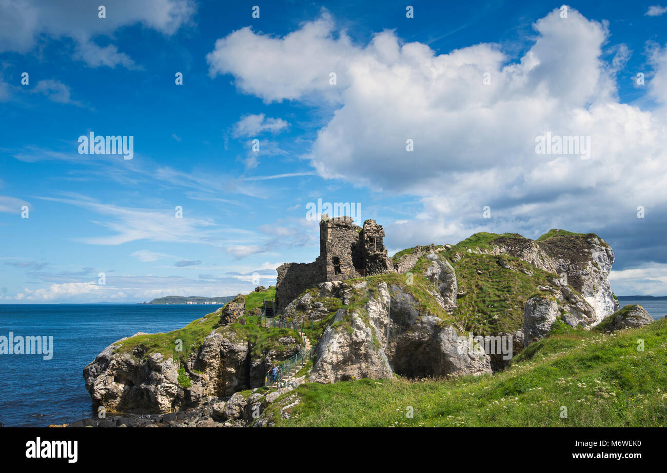 Kinbane Castle on the Causeway Coast in County Antrim, Northern Ireland - Stock Image