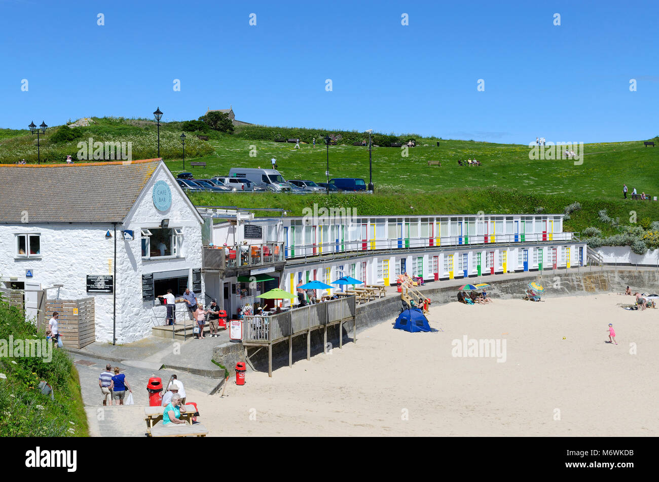 summers day at porthgwidden beach in st.ives, cornwall, england, britain, uk. - Stock Image
