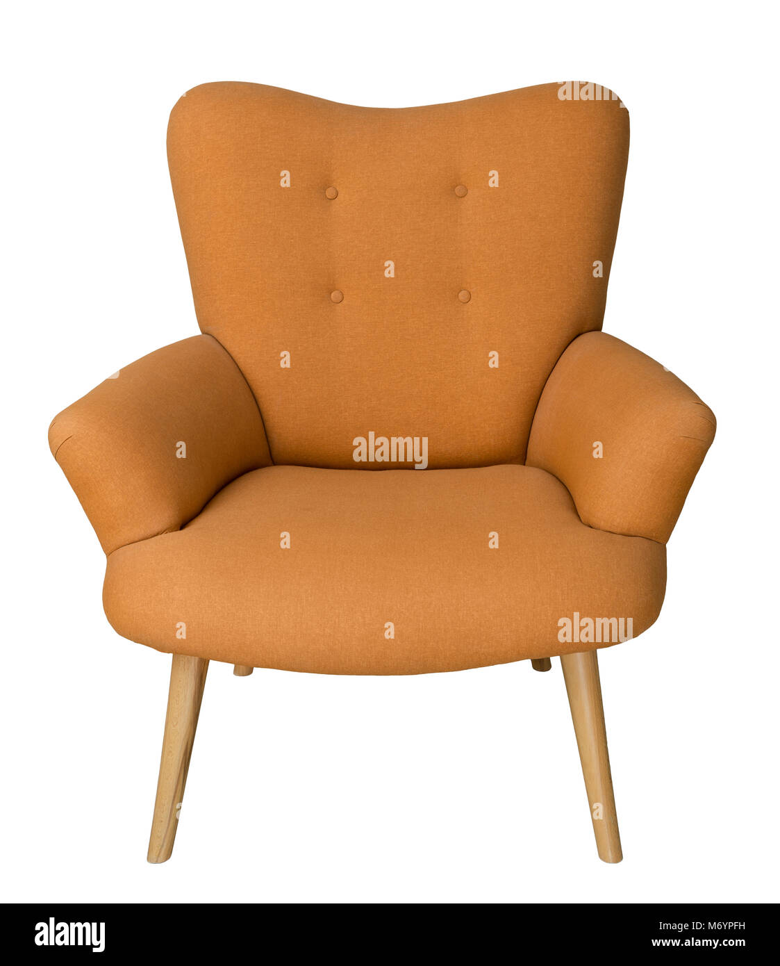 Vintage Furniture: French orange wingback armchair with wooden legs isolated on white background including clipping - Stock Image