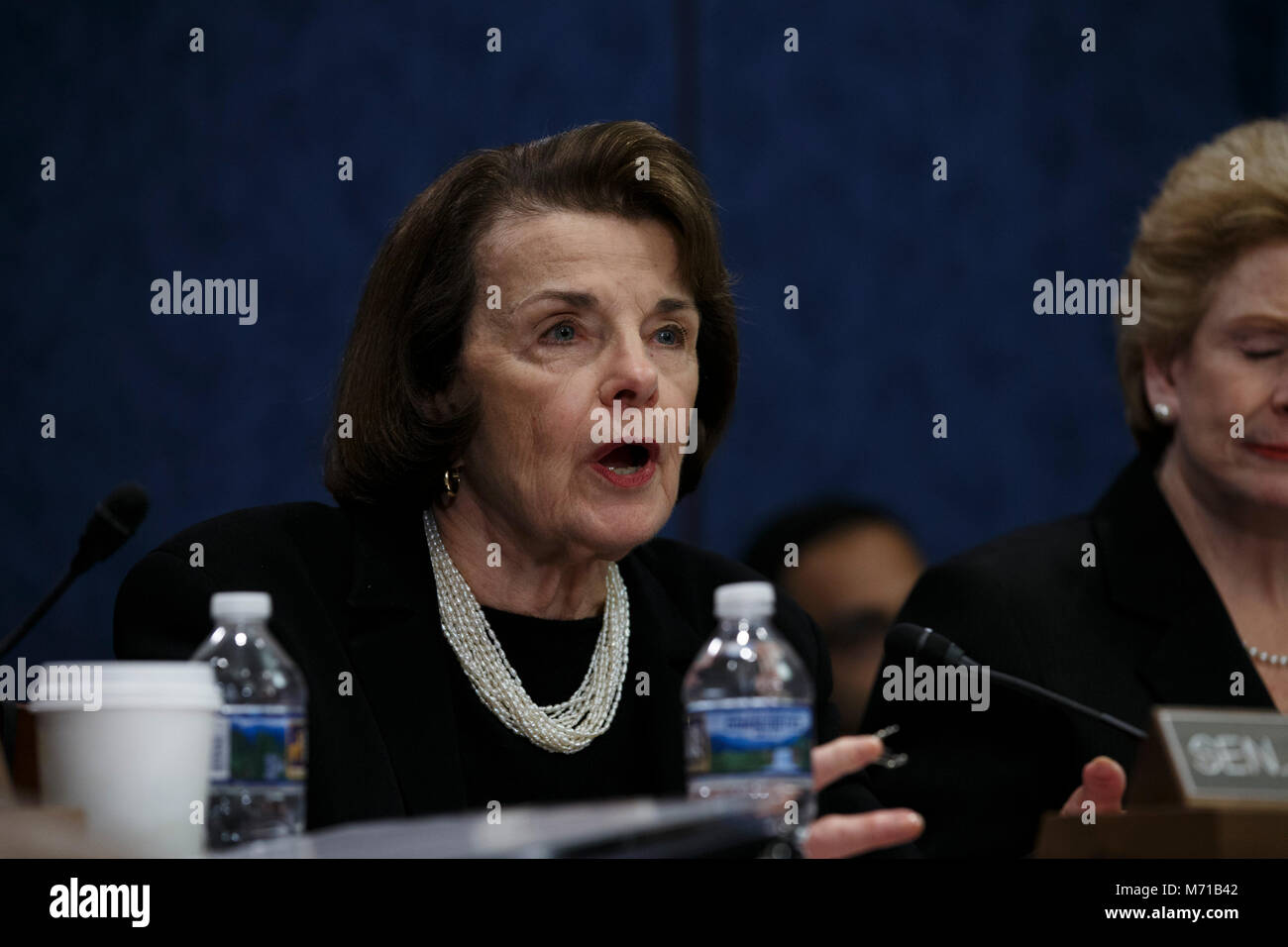 United States Senator Dianne Feinstein, Democrat of California, speaks to hearing witnesses during a hearing held - Stock Image