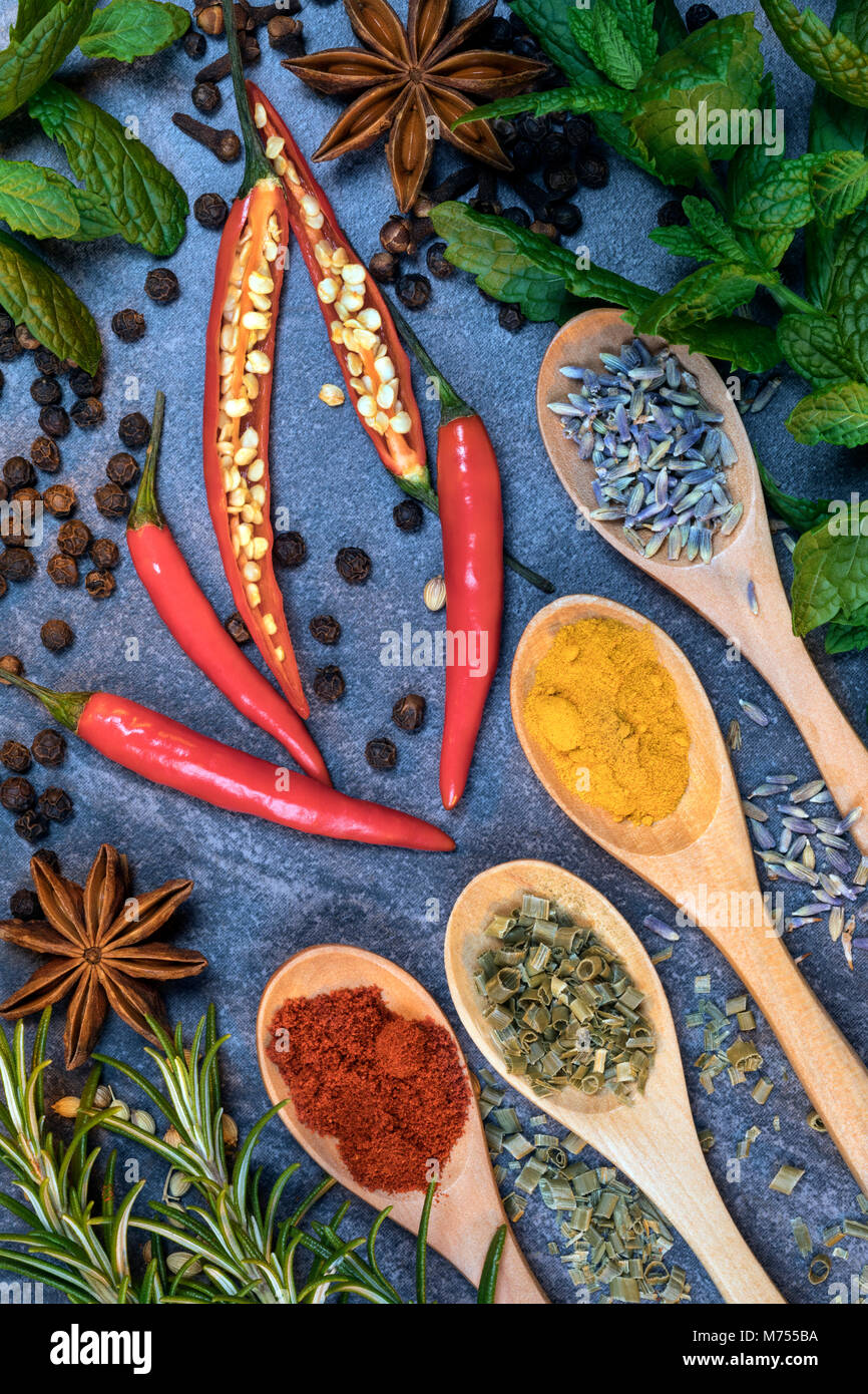 Herbs and spices used to flavor cooking. - Stock Image