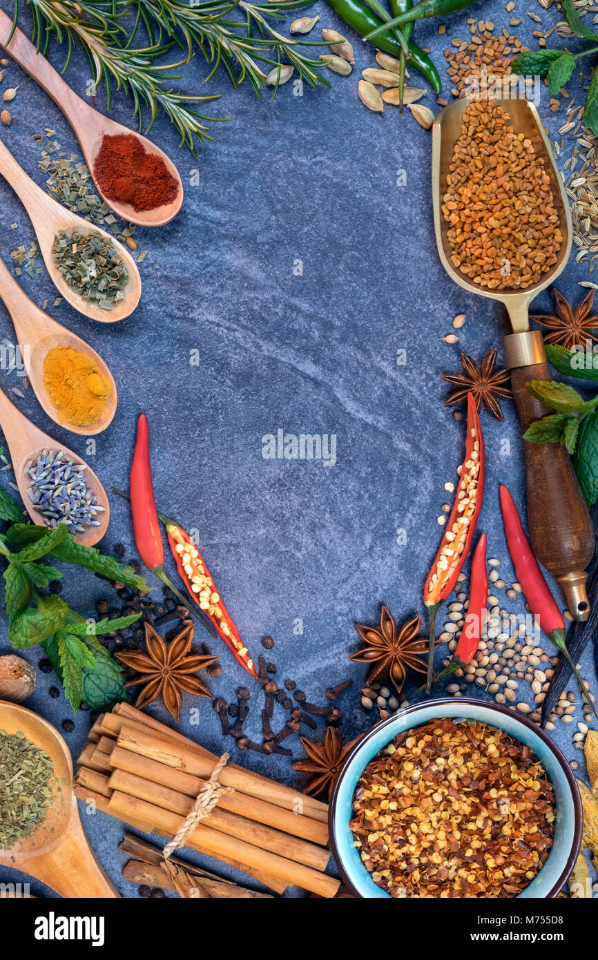 Cooking spices used to add flavor - Stock Image