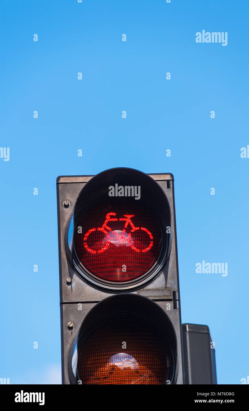 Traffic light for cycle lane users in the Netherlands - Stock Image