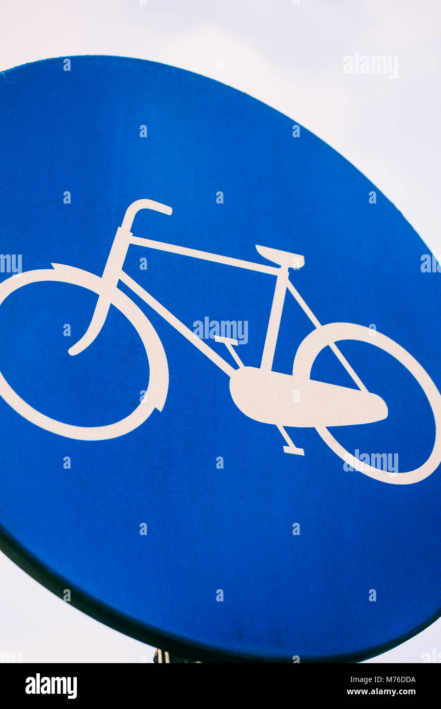Road sign indicating a cycling lane - Stock Image