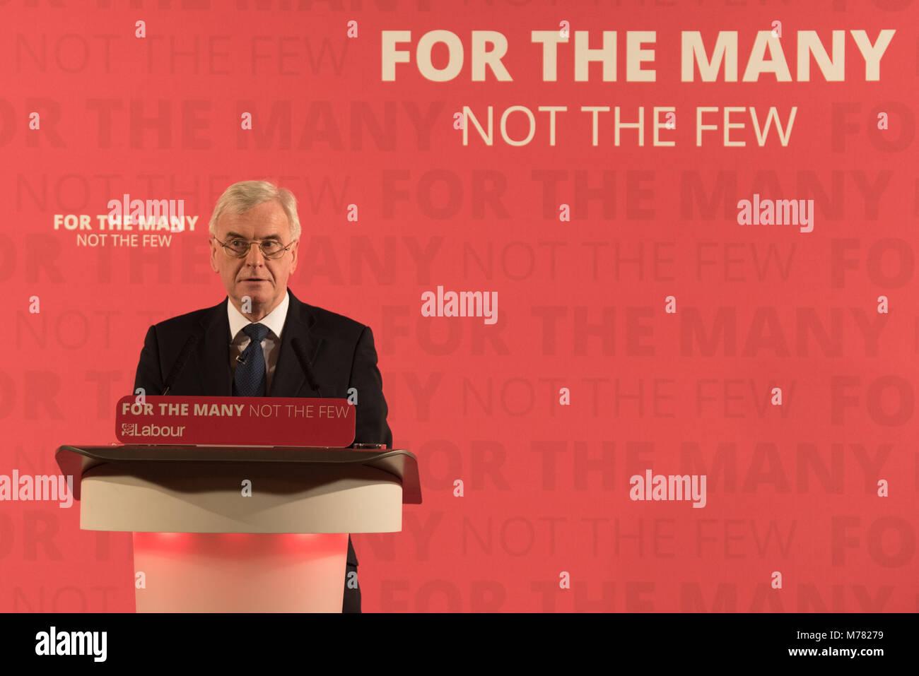 London, United Kingdom. 9 March 2018. John McDonnell MP, Labour's Shadow Chancellor, sets out Labour's demands for - Stock Image