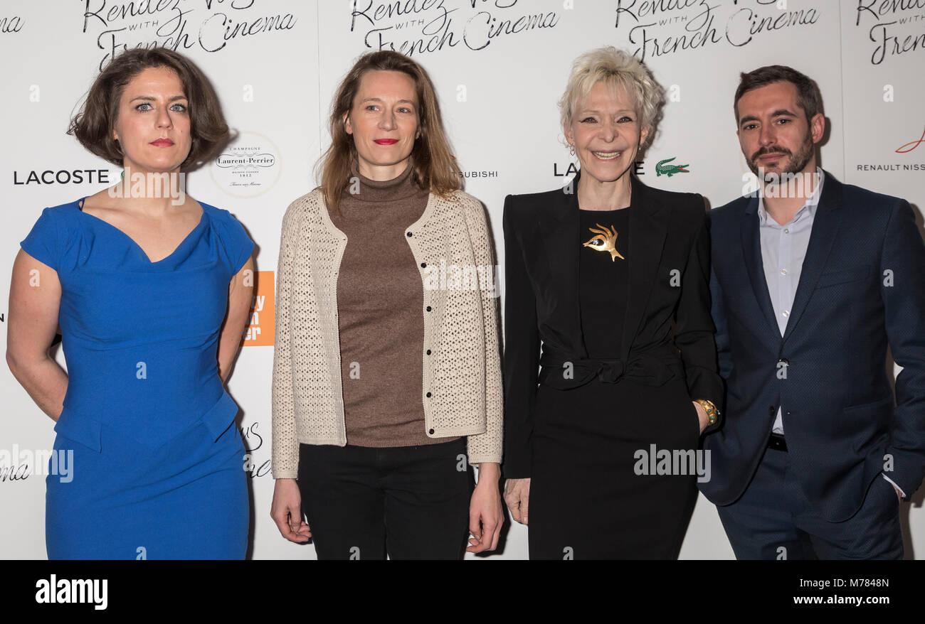 New York, NY, USA - March 8, 2018: (L-R) Julie Roue, Marine Francen, Tonie Marshall, Xavier Legrand attend Renez - Stock Image