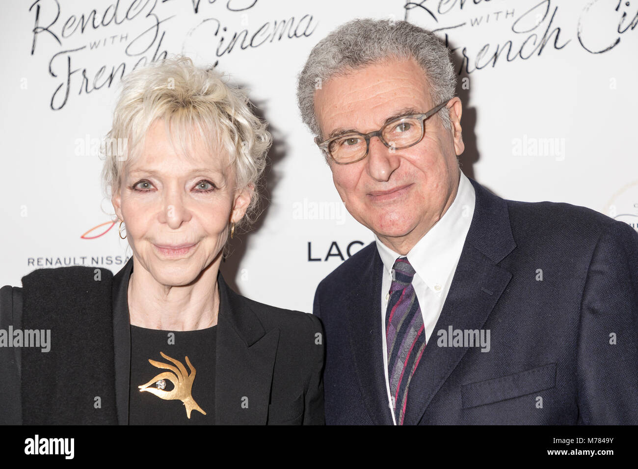 New York, NY, USA - March 8, 2018: Tonie Marshall, Serge Toubiana attend Renez-Vous with French Cinema Opening Night - Stock Image