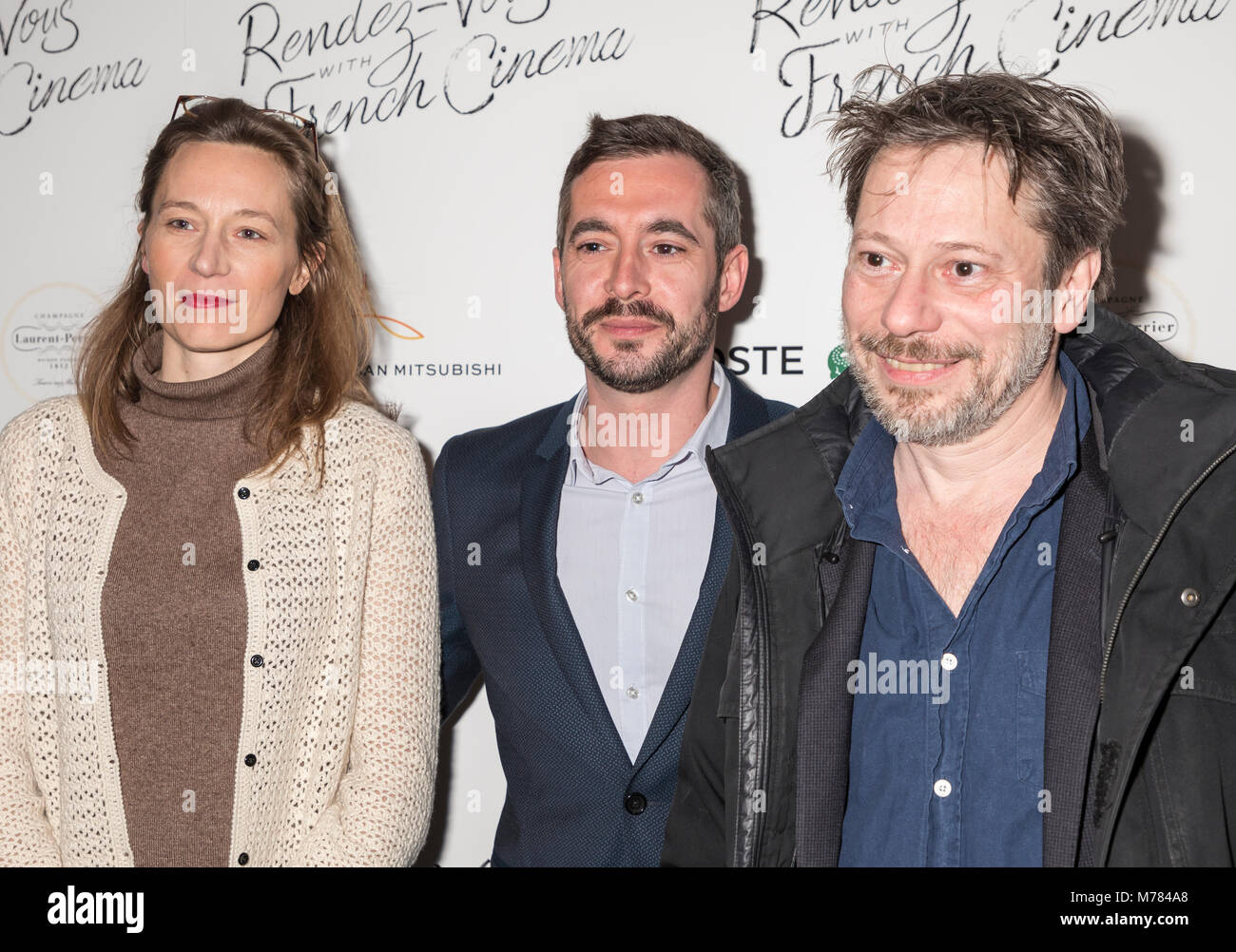 New York, NY, USA - March 8, 2018: (L-R) Marine Francen, Xavier Legrand, Mathieu Amalric attend Renez-Vous with - Stock Image