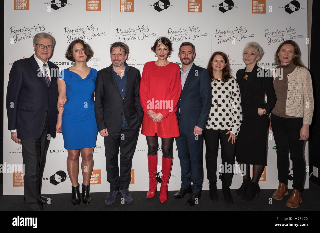 New York, NY, USA - March 8, 2018: (L-R) Serge Toubiana, Julie Roue, Mathieu Amalric, Jeanne Balibar, Xavier Legrand, - Stock Image