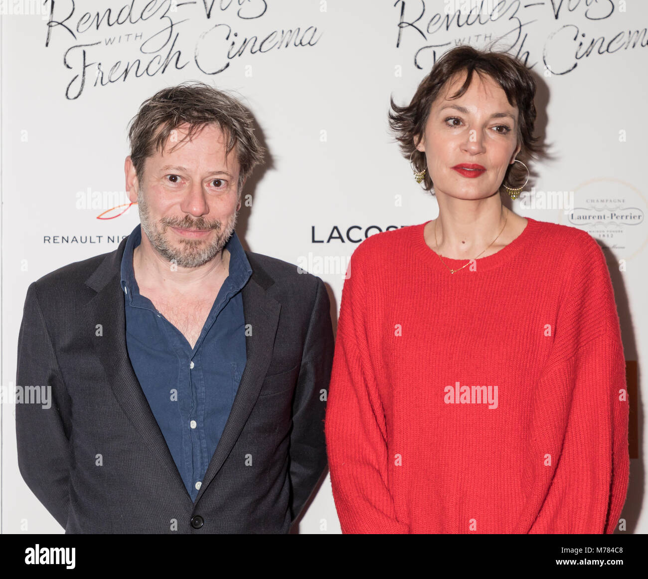 New York, NY, USA - March 8, 2018: Mathieu Amalric and Jeanne Balibar attend Renez-Vous with French Cinema Opening - Stock Image