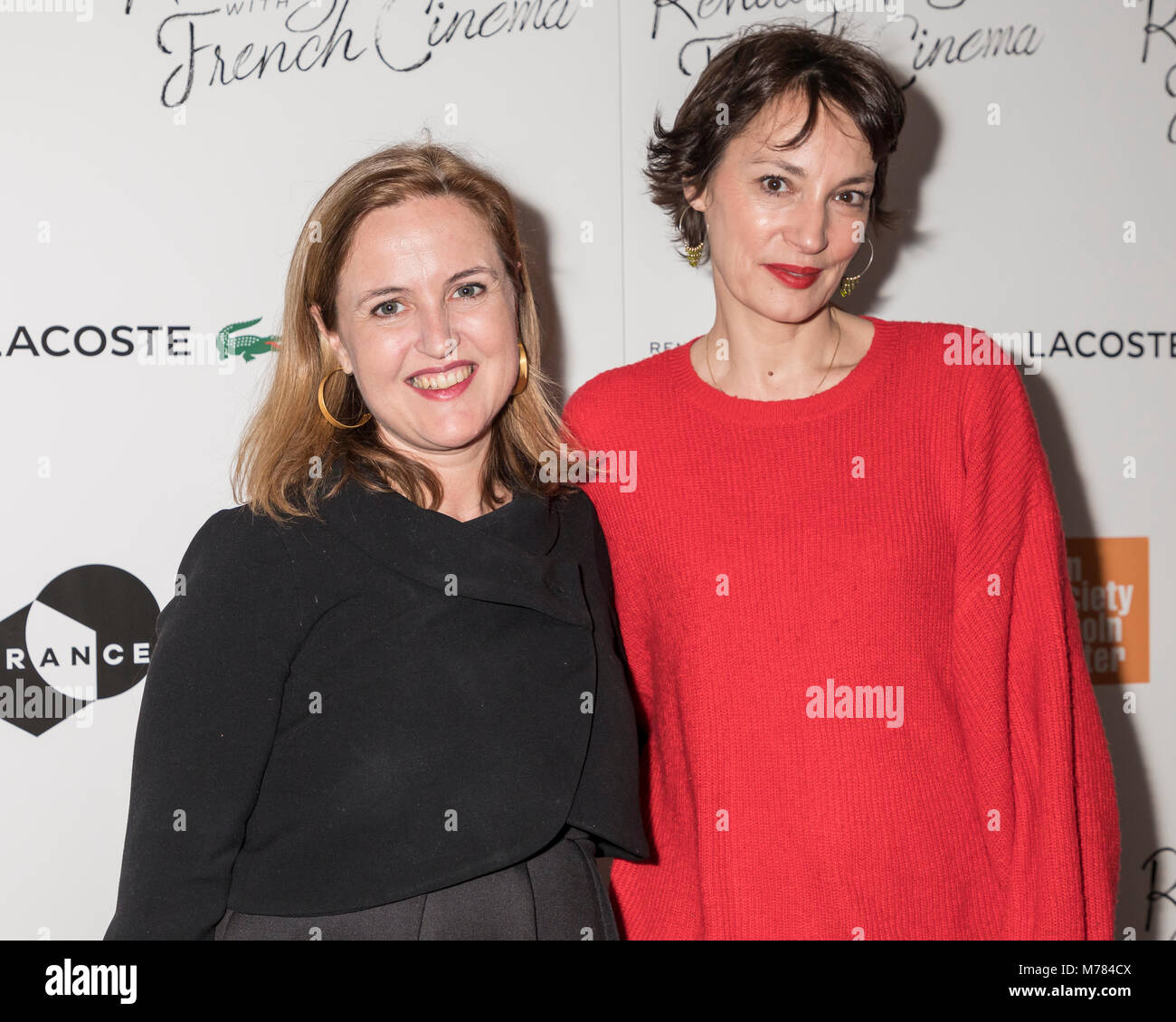 New York, NY, USA - March 8, 2018: Benedicte de Montlaur, Jeanne Balibar attend Renez-Vous with French Cinema Opening - Stock Image