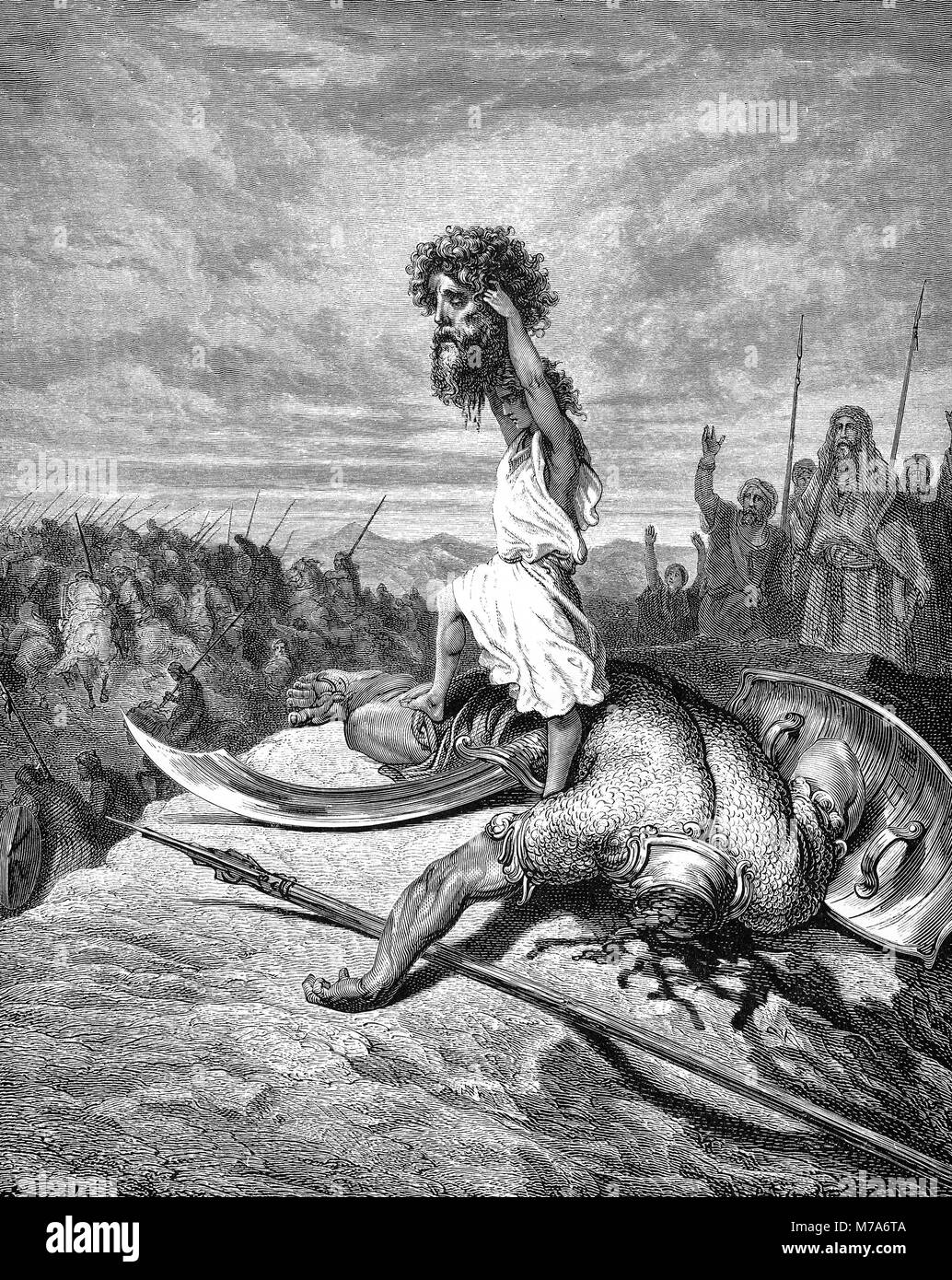 David with the head of Goliath (Book of Samuel). Illustration by Gustave Dore. - Stock Image