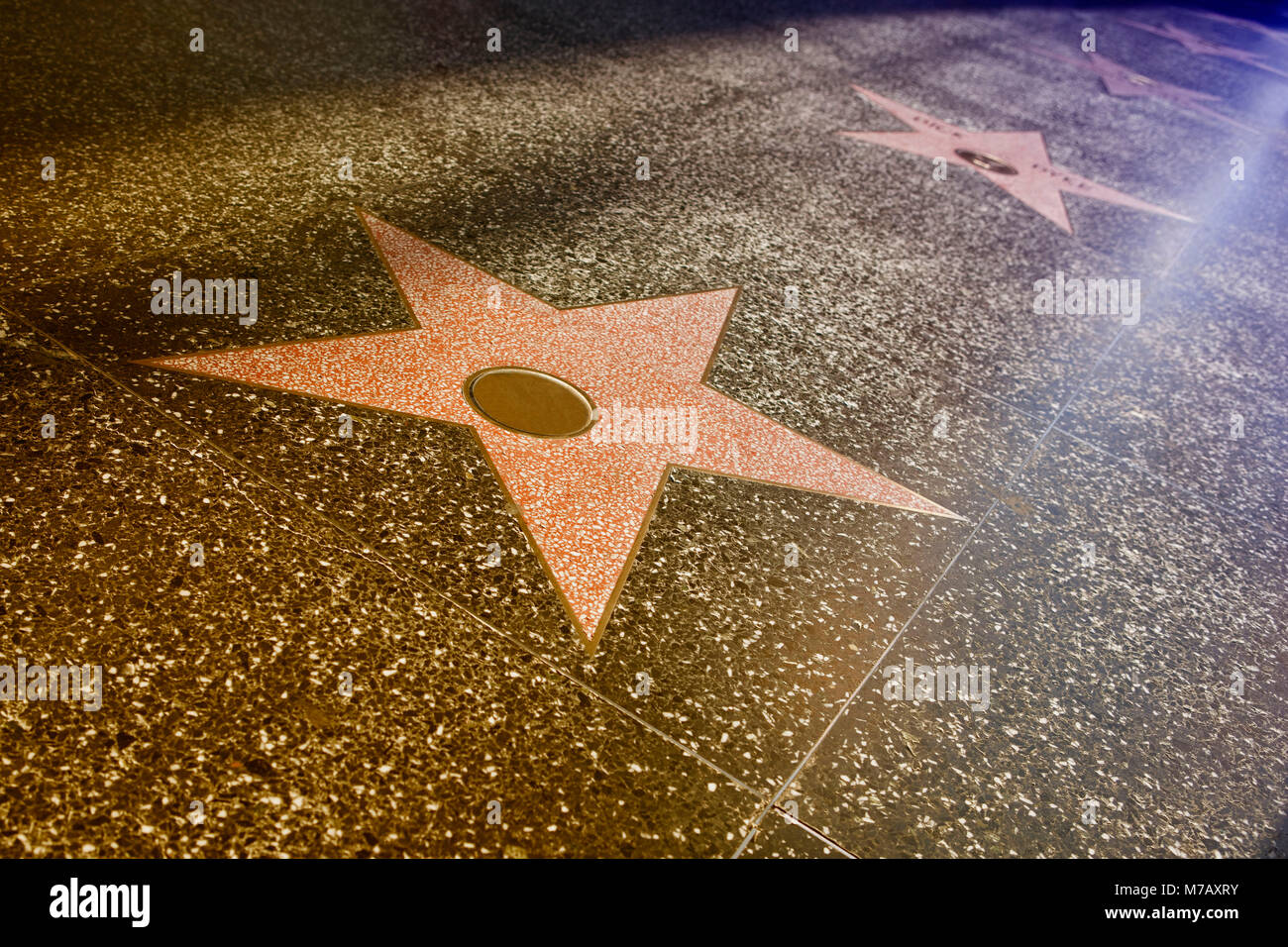 High angle view of celebrities name on stars at the sidewalk, Hollywood Walk of Fame, Hollywood Boulevard, Hollywood, - Stock Image