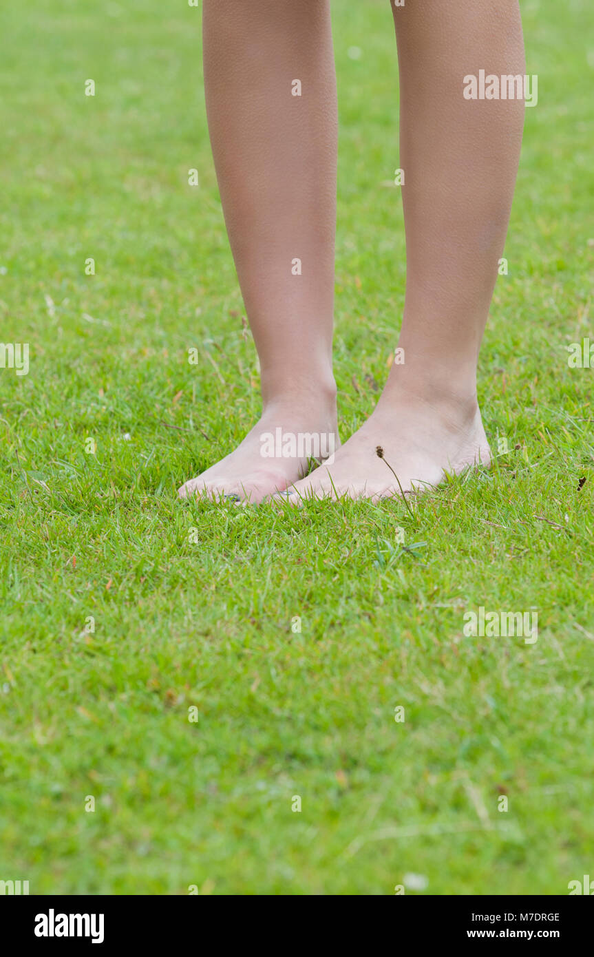 Closeup Legs Woman Standing Barefoot Stock Photos