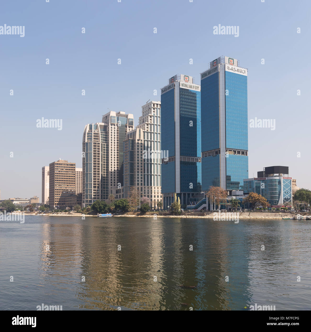 Cairo, Egypt - March 10, 2018: City view from River Nile overlooking Head Office of National Bank of Egypt and St. - Stock Image