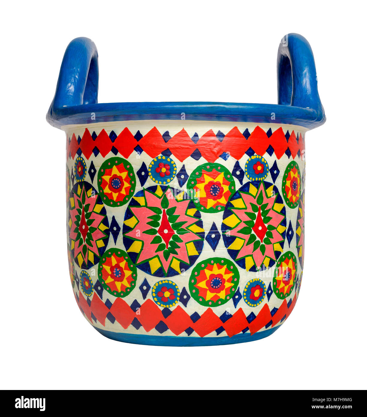 Handmade artistic pained colorful decorated pottery basket with two handles on white background isolated on white - Stock Image