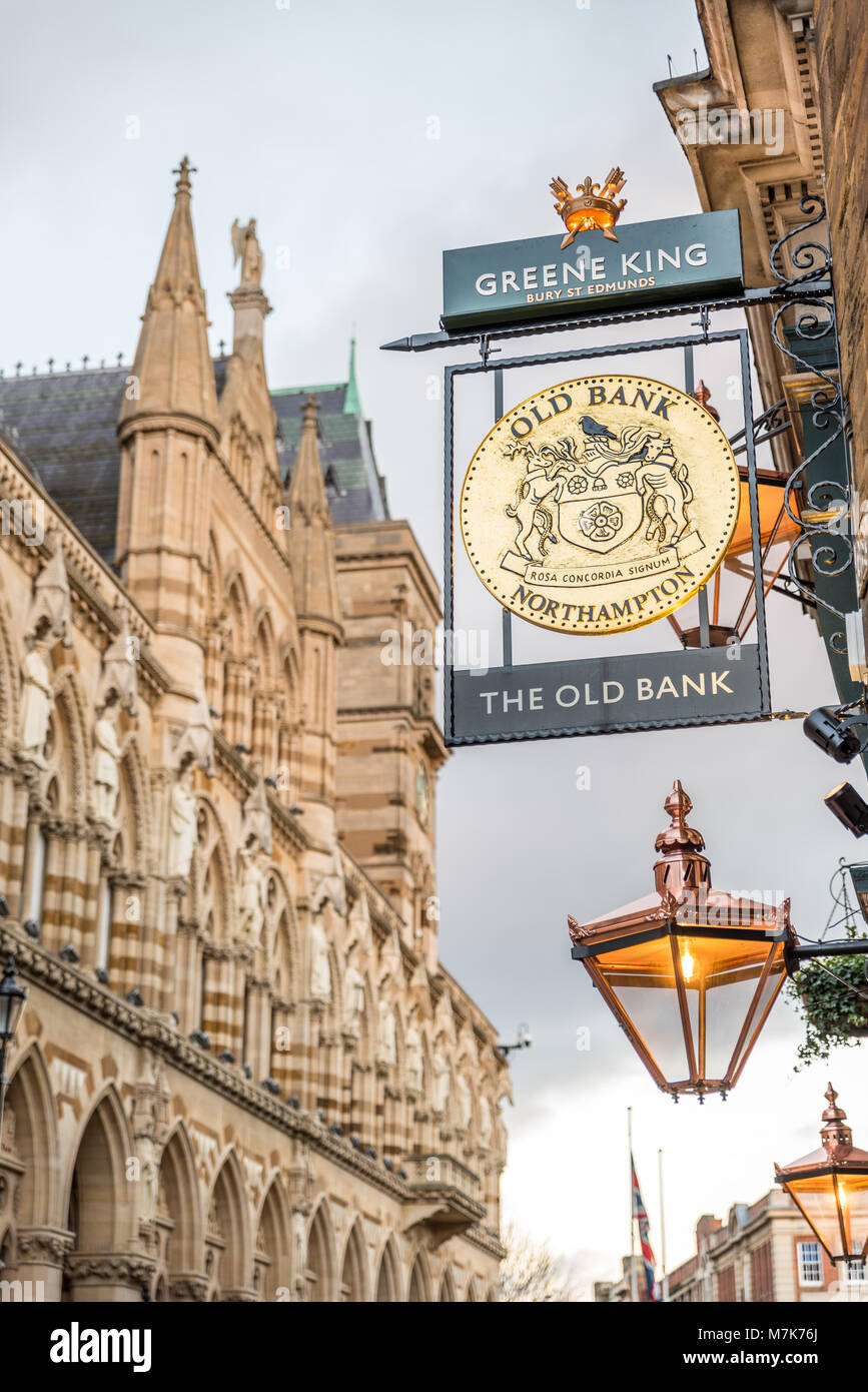 Northampton UK January 28 2018: The Old Bank pub logo sign over Northampton Guildhall building. - Stock Image
