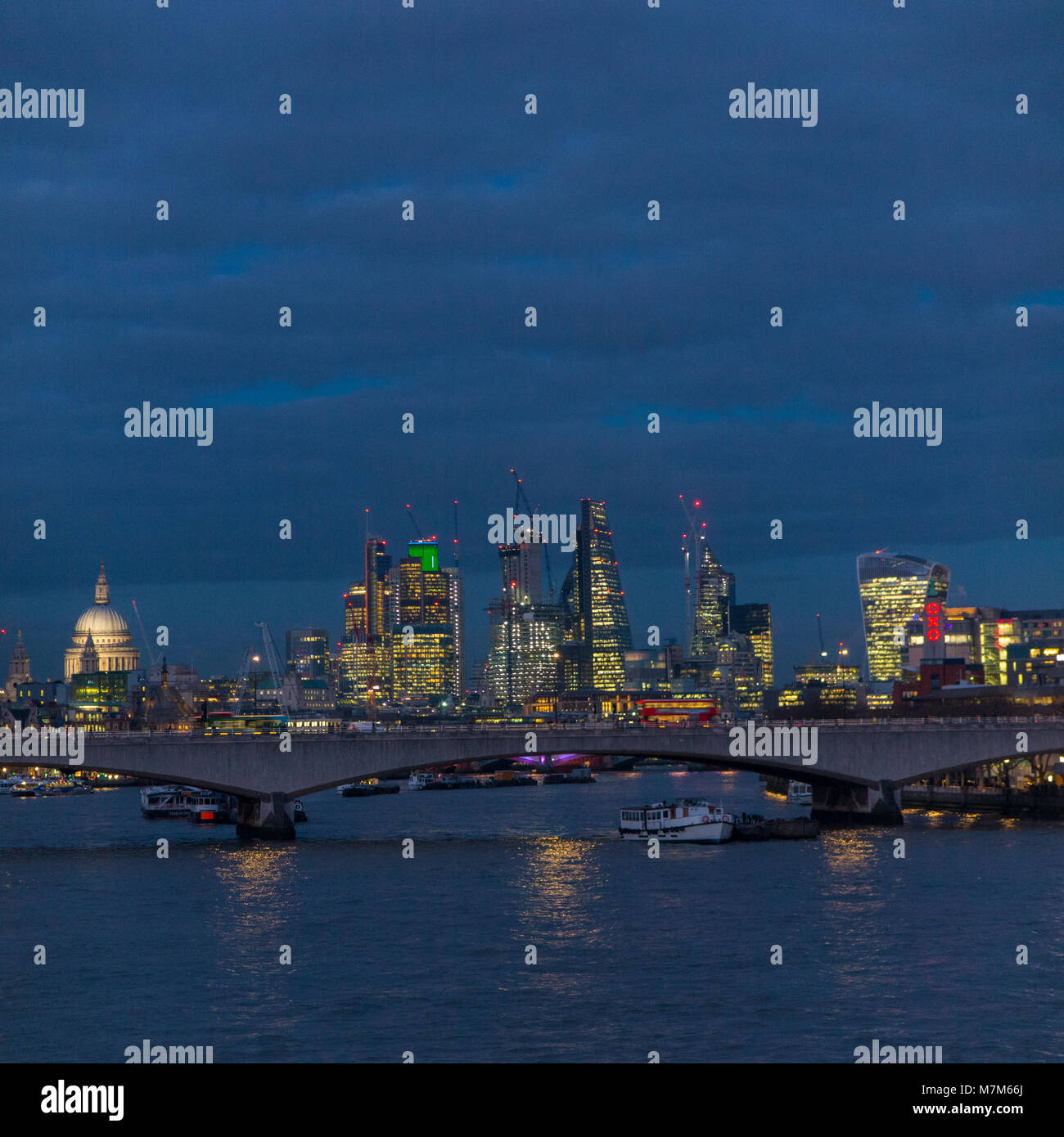 The City of London and St Paul's Cathedral  at night - Stock Image