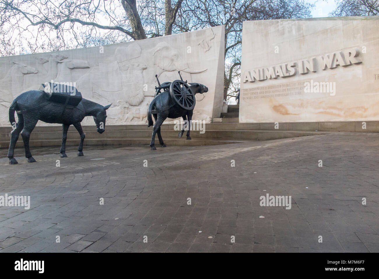 Animals in War statues by Hyde Park - Stock Image