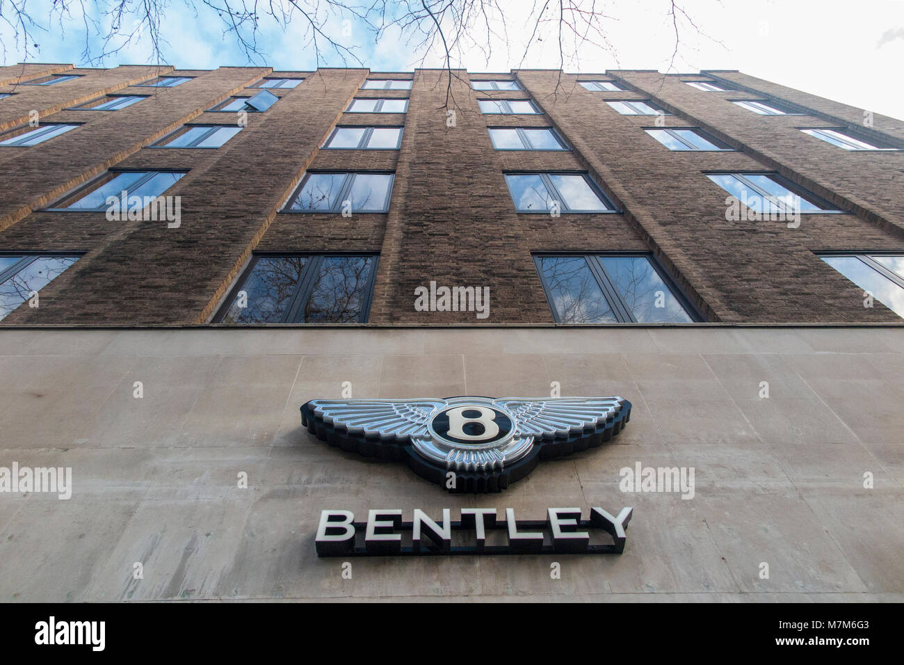 The famous Bentley logo on a car showroom in London - Stock Image