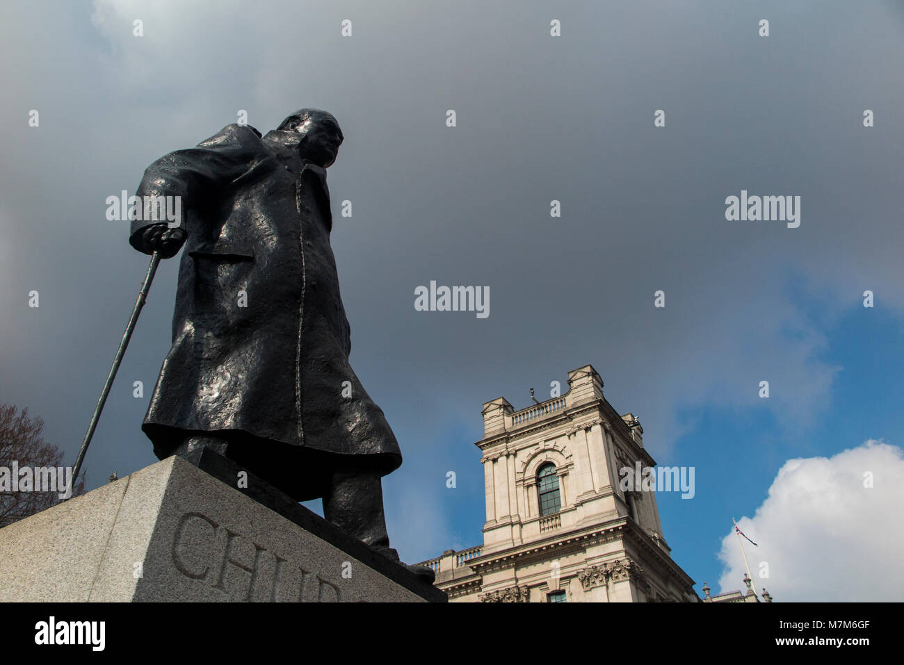 Sir Winston Churchill statue in Parliament Square, central London - Stock Image