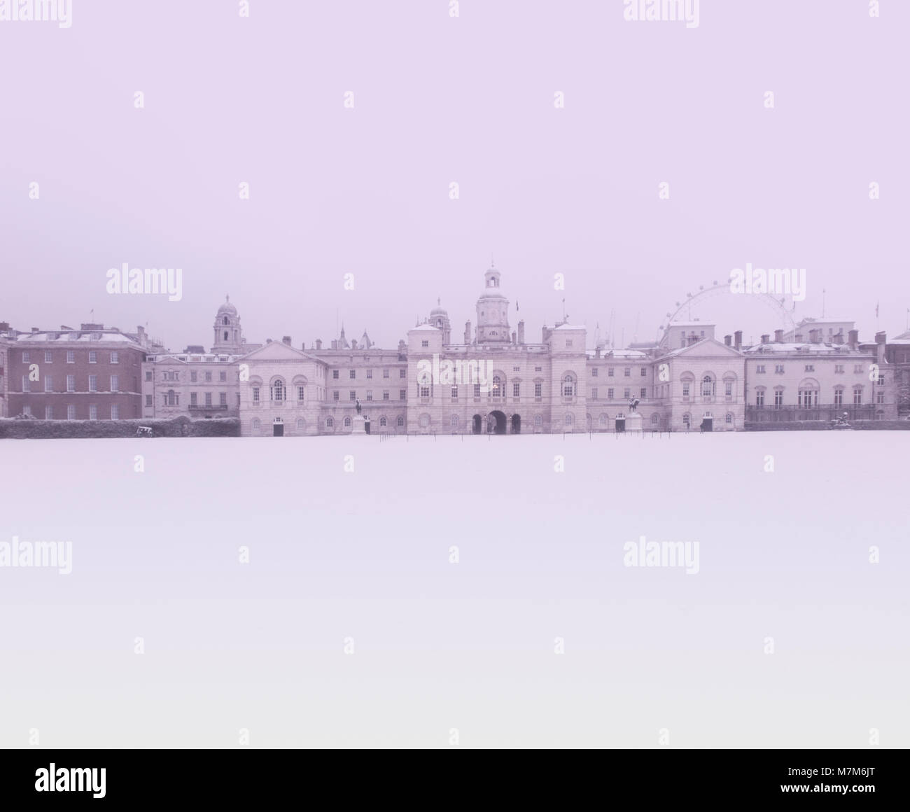 Horseguard's Parade tourist attraction after a heavy snowfall - Stock Image