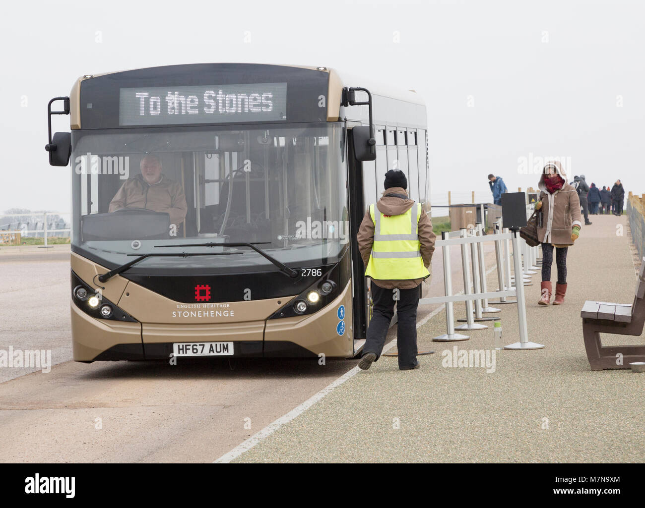 Visitor bus transport to and from the Stones, Stonehenge, Wiltshire, England, UK - Stock Image