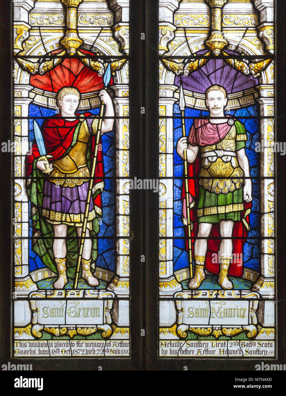 Stained glass window depicting Saint Gereon of Cologne and Saint Maurice, Parish Church of St Aldhelm, Bishopstrow, - Stock Image